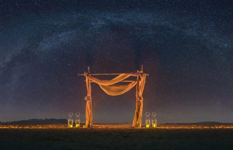 éjszakai tengerparti dekoráció esküvő